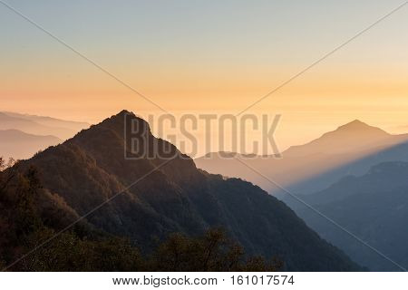 Smoky Sunset In The Mountains