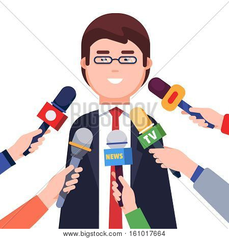 Microphones in hands of reporters on press conference. Journalists taking interview from a politician or a corporate man. Modern colorful flat style vector illustration isolated on white background.
