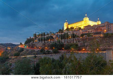 Old city of Toledo with Alcazar at night, Castilla La Mancha, Spain