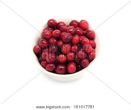 Cranberries in round white bowl isolated on white background indoor top view close up