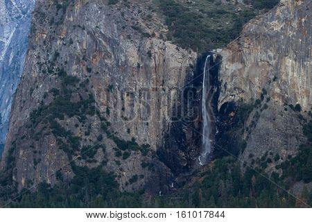Bridal Veil Falls Win Yosemite