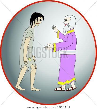 Father receiving his prodigal son who is coming to his senses and returning home. Illustrator8 EPS format poster
