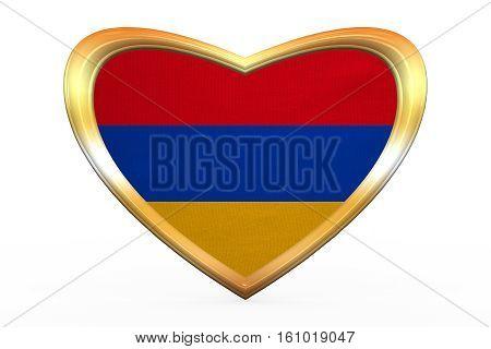 Flag Of Armenia In Heart Shape, Golden Frame