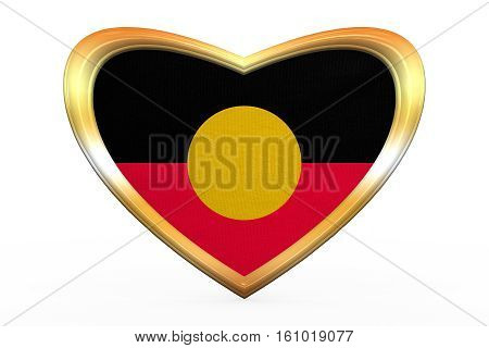Australian Aboriginal Flag, Heart Shape Gold Frame