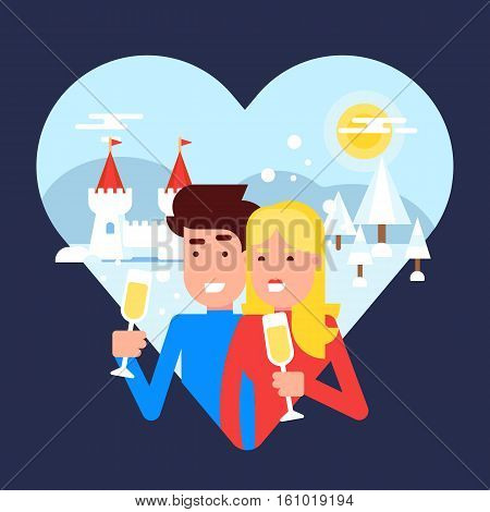 The concept of traveling couple spending their honeymoon on a winter resort and making selfie behind the sea sunset for sharing pictures with friends and family. Vector illustration.