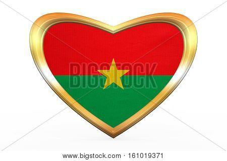 Flag Of Burkina Faso In Heart Shape, Golden Frame