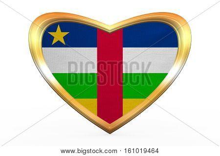 Central African Republic Flag, Golden Heart Shape