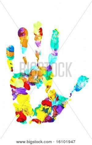 Colored hand print on white