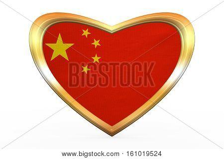 Flag Of China In Heart Shape, Golden Frame