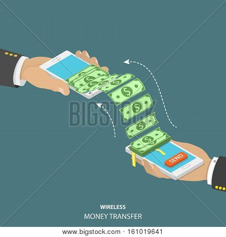 Wireless money transfer isometric vector illustration. Two smartphones in men's hands and bundle of the banknotes flying from one smartphone to the other.