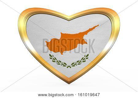 Flag Of Cyprus In Heart Shape, Golden Frame
