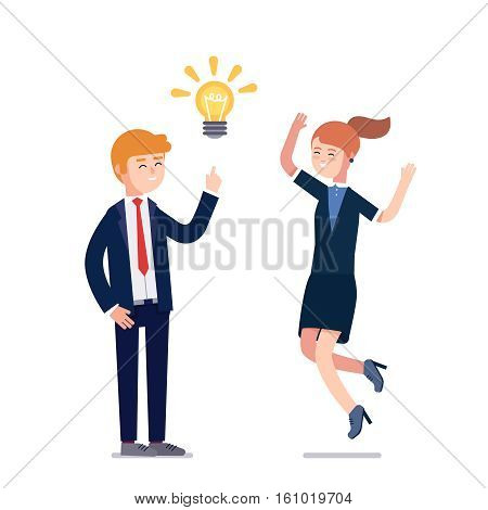 Business man having new creative problem solution idea showed as bright light bulb metaphor. Woman colleague jumping excited praising solution. Flat vector illustration isolated on white background.