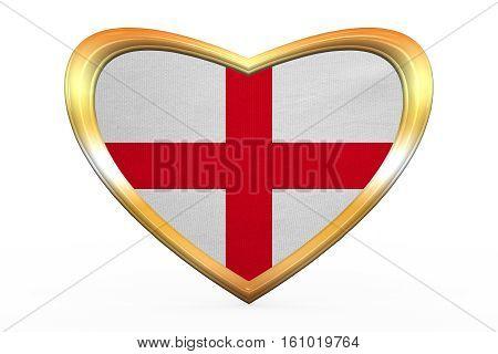 Flag Of England In Heart Shape, Golden Frame