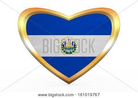 Flag Of El Salvador In Heart Shape, Golden Frame