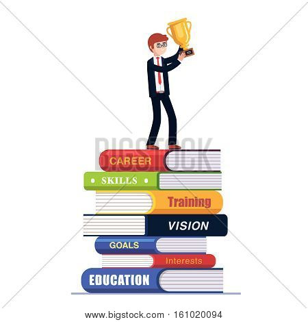 Business man standing on top of big pile of books holding golden award. Celebrating his successful education and career choice. Colorful flat style vector illustration isolated on white background.