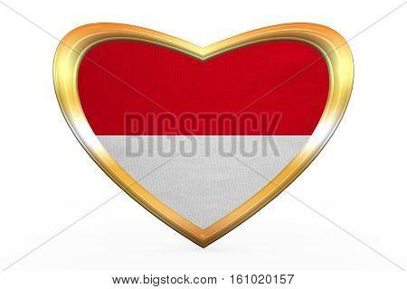 Flag Of Indonesia, Monaco, Hesse, Gold Heart Shape