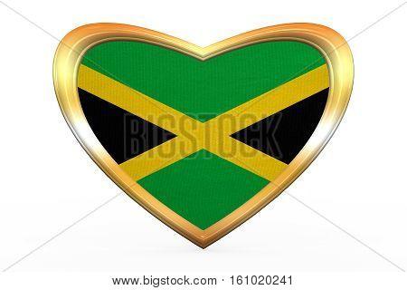Flag Of Jamaica In Heart Shape, Golden Frame