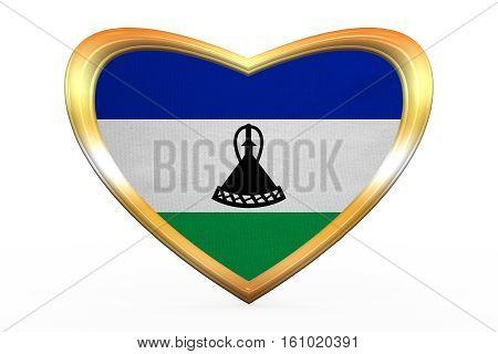 Flag Of Lesotho In Heart Shape, Golden Frame