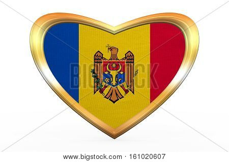 Flag Of Moldova In Heart Shape, Golden Frame