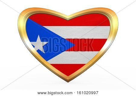 Flag Of Puerto Rico In Heart Shape, Golden Frame