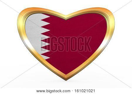 Flag Of Qatar In Heart Shape, Golden Frame