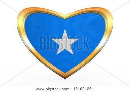 Flag Of Somalia In Heart Shape, Golden Frame