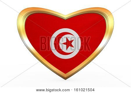 Flag Of Tunisia In Heart Shape, Golden Frame