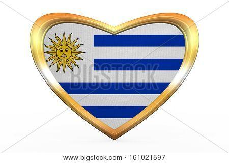 Flag Of Uruguay In Heart Shape, Golden Frame