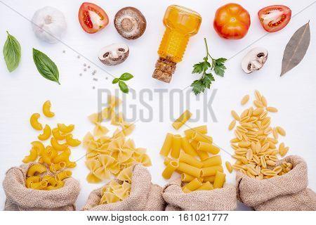 Various Kind Of Pasta Elbow Macaroni,farfalle,rigatoni,gnocco Sardo In Hemp Sack Bags With Ingredien