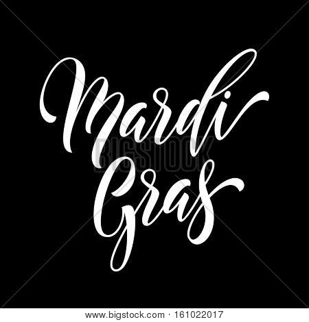 Mardi Gras carnival calligraphy lettering. Fat or Shrove Tuesday in New Orleans celebration text. Sydney Mardi Gras or Australian traditional pride parade masquerade or party