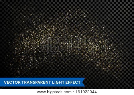 Gold glitter particles on transparent background. Vector golden dust texture. Twinkling confetti, shimmering star lights. Magic glowing sparkles spray. Cosmic space shine for Christmas decor