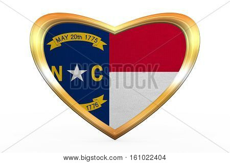 Flag Of North Carolina, Heart Shape, Golden Frame