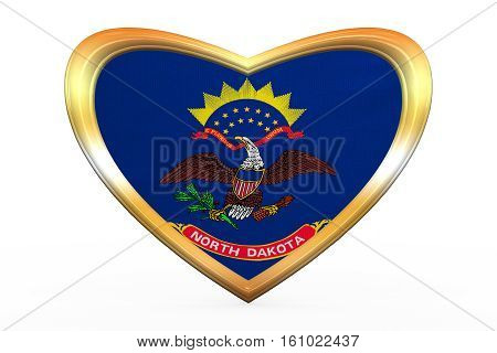 Flag Of North Dakota In Heart Shape, Golden Frame