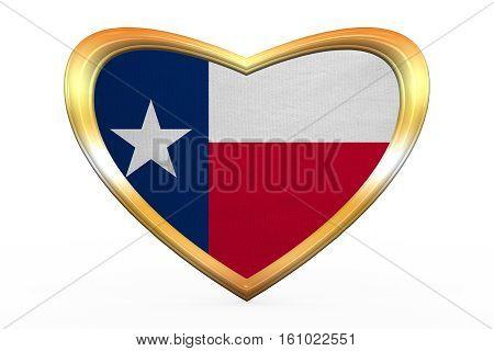 Flag Of Texas In Heart Shape, Golden Frame