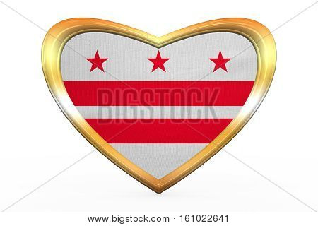 Flag Of Washington, D.c., Heart Shape Golden Frame