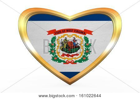 Flag Of West Virginia In Heart Shape, Golden Frame