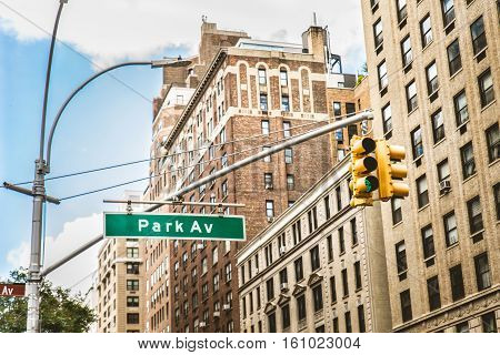 Park Ave sign in Manhattan, New York