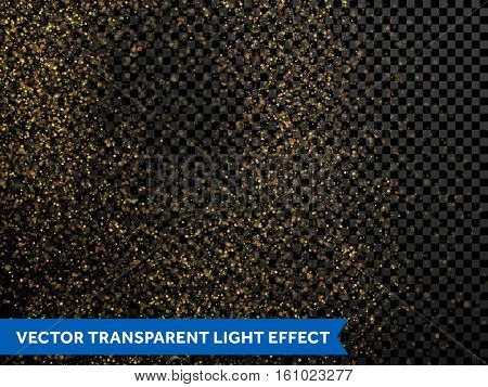 Festive falling shiny particles and stars on transparent background. Golden confetti glitter. Sparkling gold dust texture. Holiday decorative tinsel element for new year, christmas holiday design