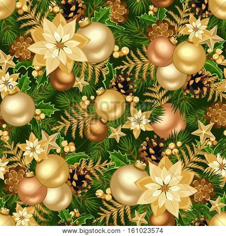 Vector Christmas seamless background with gold balls, fir-tree branches, cones, poinsettia flowers and stars.