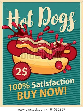 vector banner with hot dog and splashes of ketchup