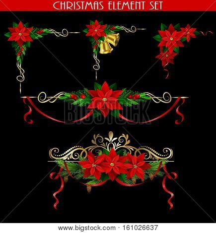 Christmas decoration set with evergreen treess holly golden bels and poinsettia isolated on black with swirls for corners poster