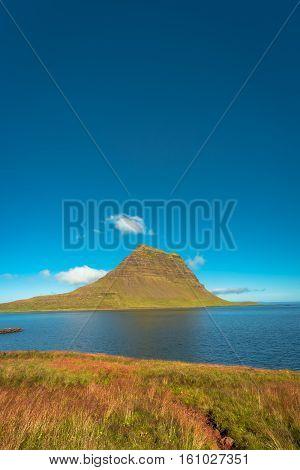 Wonderful Mountain Kirkjufell In Iceland, Summer