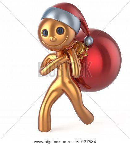 Santa Claus hat smile character New Year's Eve happy man carries bag Christmas ball decoration ornament red golden gift bauble. Traditional Xmas wintertime holiday invite concept. 3d illustration