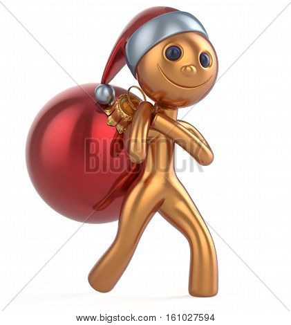 New Year's Eve man Santa Claus hat smile happy character carries bag Christmas ball decoration ornament red golden gift bauble. Traditional Xmas wintertime holiday invite concept. 3d illustration