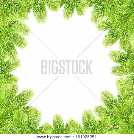 Christmas frame with fir-tree isolated on white background. Vector illustration.