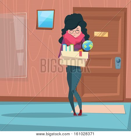 Business Woman Hold Box With Office Stuff Recruitment New Job Position Vacancy Flat Vector Illustration