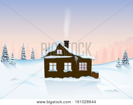 hut in the mountains at dawn. Christmas tree in the snow. icicles hanging down. pattern poster postcard card. a scenic view. wildlife.