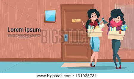 Two Business Woman Hold Box With Office Stuff Recruitment New Job Position Vacancy Flat Vector Illustration