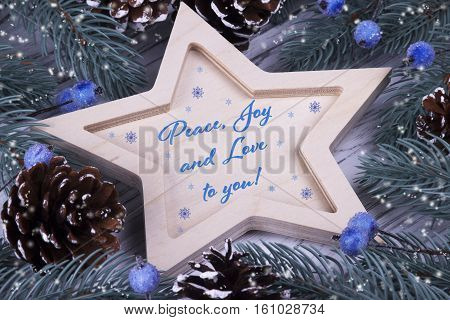 Christmas Xmas New Year Holiday Greeting Card With Wooden Five Pointed Star Fir Branches Cones Blue