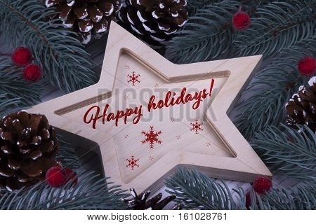 Christmas Xmas New Year Holiday Greeting Card With Wooden Five Pointed Star Fir Branches Cones Red B